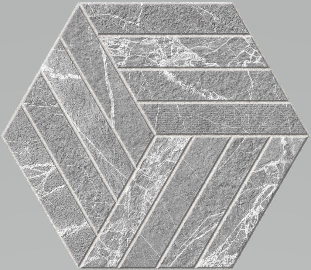 Carrelage hexagone effet pierre Devon 20x24
