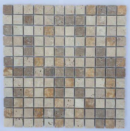 MOSAIQUE TRAVERTIN MIX 3 COULEURS 2,3 x 2,3 CM
