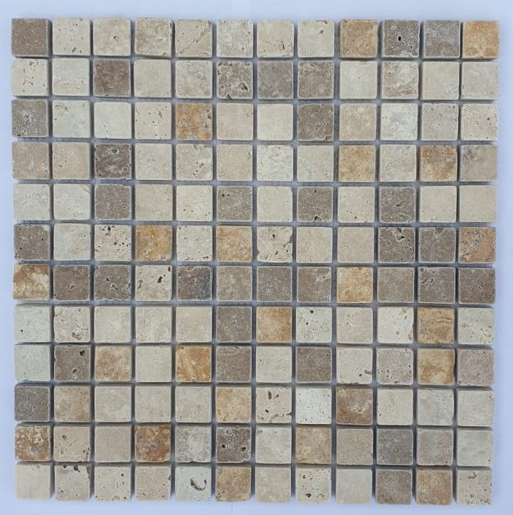MOSAIQUE TRAVERTIN MIX 3 COULEURS 2,3 x 2,3 CM