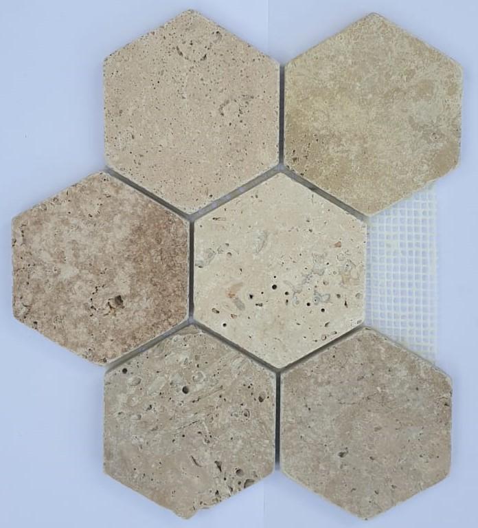 MOSAIQUE TRAVERTIN HEXAGONES 5.5x5.5 CM