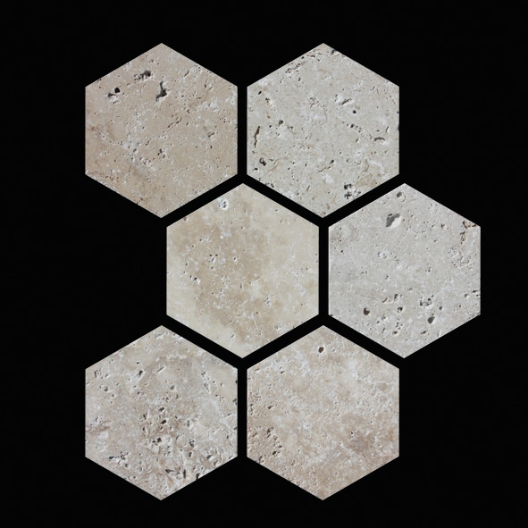MOSAIQUE TRAVERTIN HEXAGONES 5.5x5.5 CM