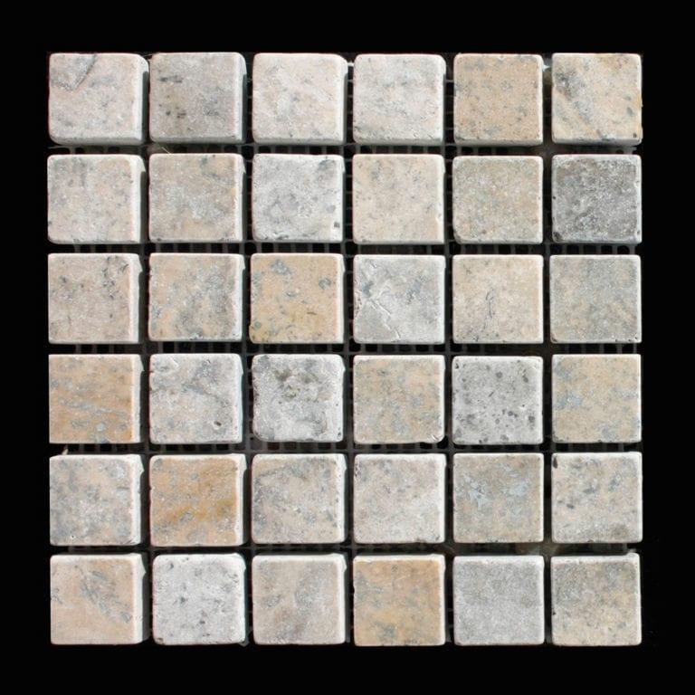 MOSAIQUE TRAVERTIN SILVER 2,3 x 2,3 CM