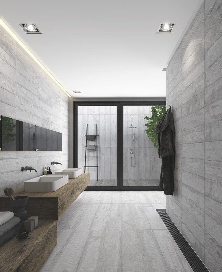 salle de bain avec carrelage imitation béton ciré