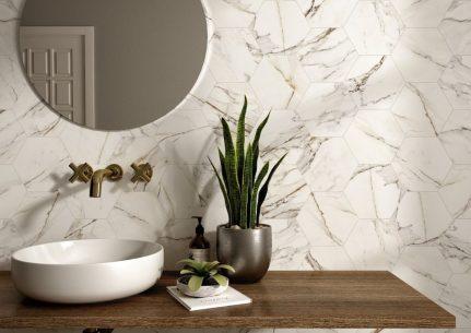 Carrelage d'exception effet marbre CALACATTA HEXAGONE 20x24
