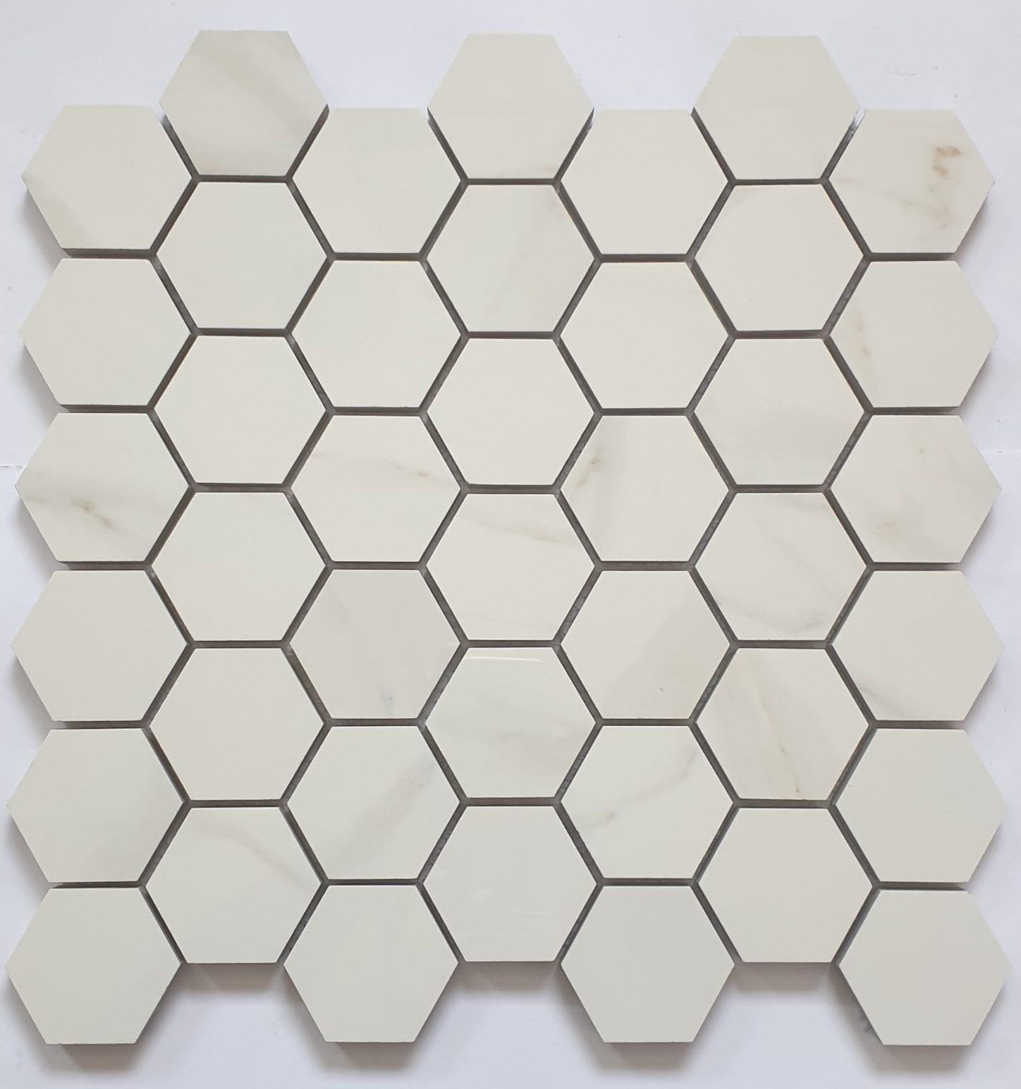 Mosaïque effet marbre hexagone CALACATTA 30x30