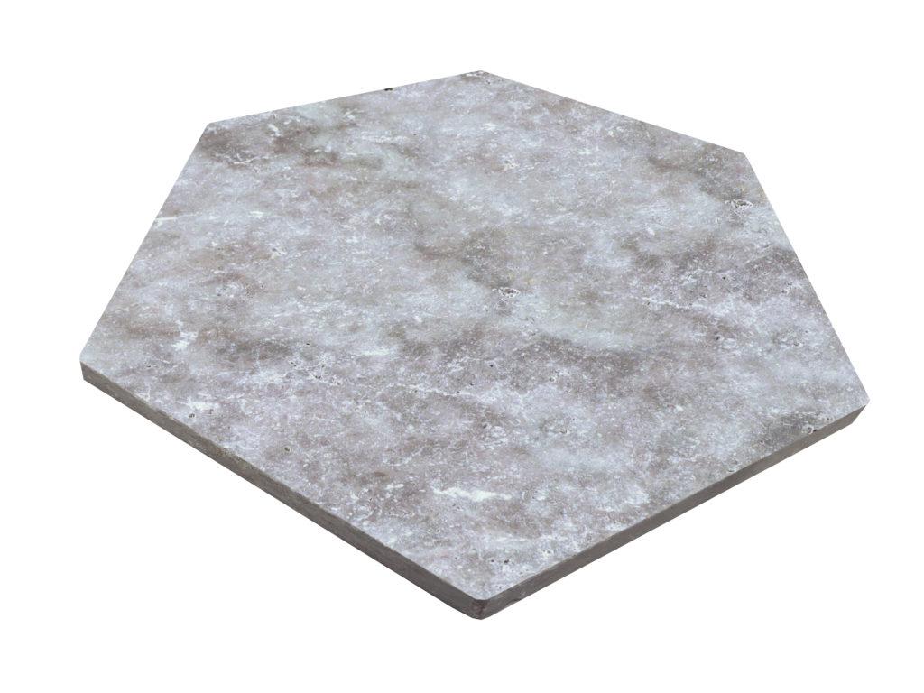 TRAVERTIN SILVER HEXAGONES 11,6 X 23,2 X 1 CM 1er CHOIX