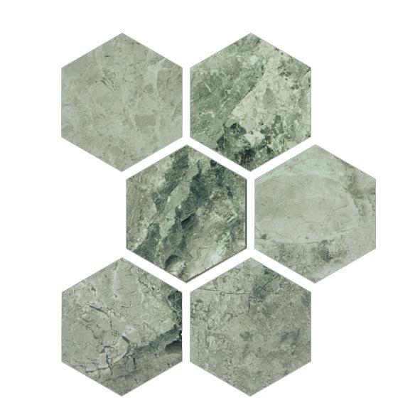 MOSAIQUE MARBRE ATLANTIC GREY HEXAGONES 5.5x5.5 CM